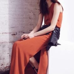 Madewell Dresses | Silk Maxi Dress | Poshmark Rust Orange, Orange Color, Burnt Orange Bridesmaid Dresses, Ankle Length, Silk Dress, How To Wear, Beautiful, Style