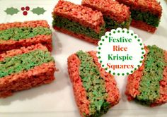Festive Rice Krispie Treats  #baking #holidays #ricekrispies #gifts