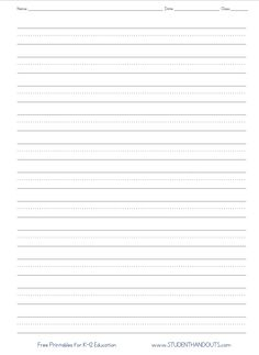 Full page writing paper no picture. Appropriate for second grade. From studentha… – First Grade - Paper Handwriting Practice Worksheets, First Grade Worksheets, Penmanship Practice, Kindergarten Writing, Kids Writing, Lined Writing Paper, Second Grade Writing, Writing Lines, Reading Mastery