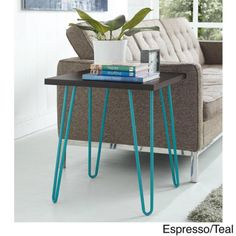Mid-Century-Modern-Accent-Table-End-Retro-Nightstand-Industrial-Teal-Office-Room