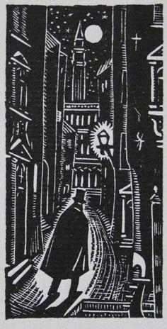 Colección Blaisten Fondo Díaz de León J.F. Pzn  Hombre misterioso , ca. 1940  Grabado, madera al hilo Imagen: 8.2x4.2 cm.