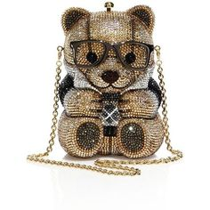 Judith Leiber Spencer Crystal Teddy Bear Minaudiere ($4,995) ❤ liked on Polyvore featuring bags, handbags, clutches, apparel & accessories, champagne, judith leiber minaudiere, metallic purse, champagne purse, crystal handbags and teddy bear purse