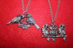 Owl and Sparrow Rhinestone Necklaces  set of  2  by PIYOYO on Etsy, $15.00