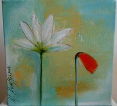 Flower power, acrylic flower painting, canvas, turquoise, red, white.  via Etsy.
