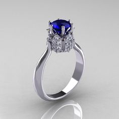 14K White Gold Diamond 1.0 Carat Blue Sapphire Tulip Solitaire Engagement Ring