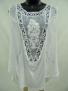 Plus Size 2X Soft STRETCH Top CROCHETED LACE FRONT Blouse  Feminine Trendy NWT…