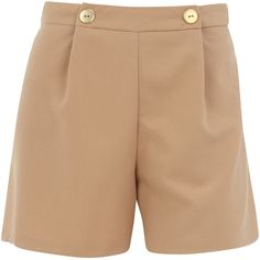 Taupe button detail shorts ($12) ❤ liked on Polyvore featuring shorts, pants, bottoms and dorothy perkins