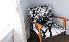 Chair reupholstered with Marimekko fabric