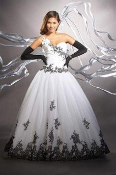 vestidos de debutantes de renda branco e preto