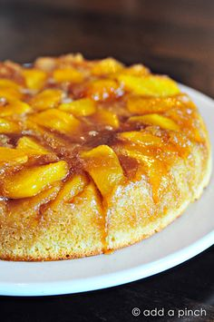 Nectarine Upside-Down Cake Recipe made by @addapinch | Robyn Stone