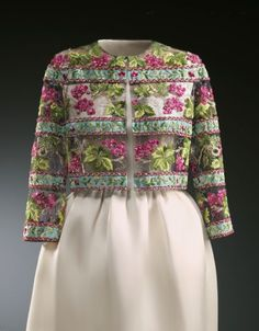Balenciaga, Master of Lace at the Museum of Lace and Fashion - Cristóbal Balenciaga, formal bolero embroidered by Lesage,   1959. Piece now in the collections of the Fundación Cristóbal Balenciaga Fundazioa, Getaria, Spain | BLOUIN ARTINFO