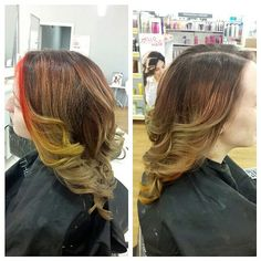 """45 Likes, 4 Comments - 💇Catherine Ann💄 (@catherineann_mua) on Instagram: """"Side views of Nicole and her new Pheonix peek-a-boo do 🔥🔥🔥#phoenixhair #Phoenix #redken #balayage…"""""""
