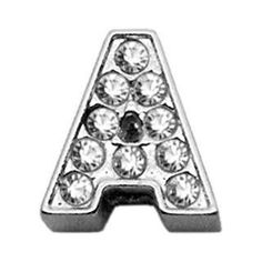 """3-8"""" Clear Bling Letter Sliding Charms A ."""