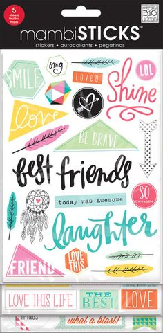 What's better than a sheet of stickers? 5 sheets of stickers! This value, flip-pack features clear stickers with glitter treatment. Popular sayings, phrases and icons make it so easy to add a special