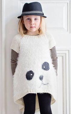 Novita Oy - Neulemalli: Tytön neulottu Panda-tunika