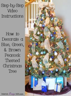How to decorate a blue, green, and brown/bronze peacock themed Christmas tree - elegant, beautiful, amazing, designer, easy, step-by-step, instructions, video, ideas Peacock Christmas Tree, Christmas Tree Themes, Holiday Tree, All Things Christmas, Holiday Fun, Christmas Holidays, Holiday Decor, Tree Interior, Crafts To Make