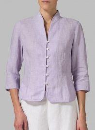 Linen Fitted Mandarin Collar Jacket from Vividlinen