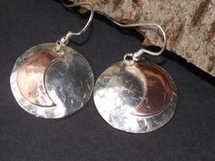 925 Sterling Silver tetured earrings with crescent copper moon