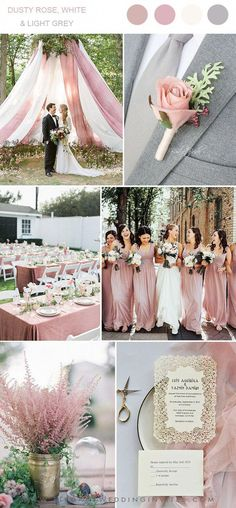 dusty rose, white and light gray spring and summer wedding colors - . dusty rose, white and light gray spring and summer wedding colors – Weddings – # Spring Staubige Rose, Rose Gold, Dusty Rose Wedding, Blush And Grey Wedding, Grey Wedding Theme, Fall Wedding, Spring Wedding Colors, Summer Wedding Themes, Summer Wedding Dresses