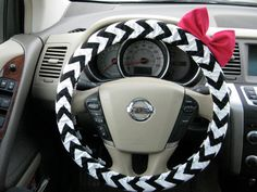 Black and White Chevron Steering Wheel Cover with Matching Bright Brink Pink Bow. $25.00, via Etsy.