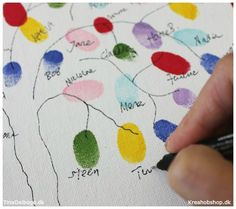 DIY - Indslag til fest med gæsternes fingeraftryk - alle materialer fra kreahob. Easy Crafts, Diy And Crafts, Niklas, Diy Invitations, Just For Fun, Diy Baby, Doodle Art, Handicraft, Christening
