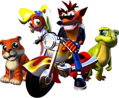 Crash bandicoot, Baby T (baby tyrannosaurus rex), Coco Bandicoot, and Pura (Coco's pet tiger cub) - This game was so hard for me to beat when I was younger,but I loved playing it. The levels were cool and the characters were pretty crazy.