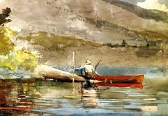 The Red Canoe i painting - Winslow Homer The Red Canoe i art painting