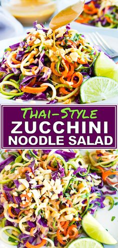 Quick easy and healthy Thai Zucchini Noodle Salad makes the perfect low-carb keto and vegan lunc&; Quick easy and healthy Thai Zucchini Noodle Salad makes the perfect low-carb keto and vegan lunc&; Zucchini Noodles Salad, Veggie Noodles, Zucchini Noodle Recipes, Zucchini Spirals Recipes, Vegan Zuchinni Recipes, Vegan Keto Recipes, Zucchini Pasta, Potluck Recipes, Salad Recipes