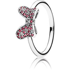PANDORA Disney Minnie's Sparkling Bow Ring ($70) ❤ liked on Polyvore featuring jewelry, rings, pave bow ring, red bow ring, red ring, clear crystal jewelry and polka dot jewelry