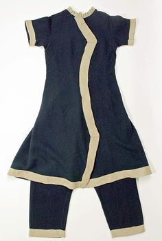 Bathing suit Date: 1885 Culture: American Medium: wool Dimensions: [no dimensions available] Credit Line: Gift of Mrs. L.A. Greenland, 1942 Accession Number: C.I.42.102.1a, b