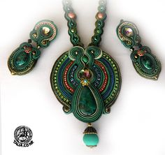 Soutache pendant and clips in Green by caricatalia.deviantart.com on @deviantART