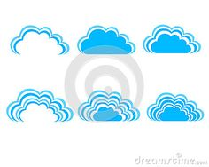 Blue sky, blue clouds  illustration Set