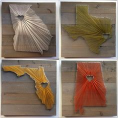 State String Art on 17.5 x 17.5 Stained Wood by theWoodPalette