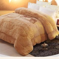 SOFO Thicken Long Plush Cotton Camel Embroidery Comforter Winter Soft Warm Bed Quilt is fashion & kawaii, see other throw blanket on NewChic. Duvet, Quilt Bedding, Bedding Sets, Dream House Interior, Interior Design Living Room, Console, Warm Bed, Big Houses, My New Room