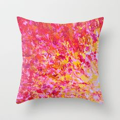 ROMANTIC DAYS - Lovely Sweet Romance, Valentine's Day Sweetheart Pink Red Abstract Acrylic Painting Throw Pillow by EbiEmporium - $20.00