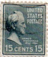 US postage stamp, 15 cents. James Buchanan. Issued 1938. Scott catalog 820.
