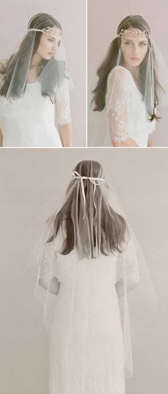 Top 20 Wedding Hairstyles with Veils and Accessories Triple crystal loops headband Hand wired swarovski crystals wedding Wedding Forhead accessories with Veil Curly Wedding Hair, Wedding Hairstyles For Long Hair, Headband Veil, Bridal Braids, Veil Hairstyles, Bridal Hairstyles, Short Hairstyles, Wedding Hair Inspiration, Bride Look