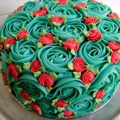 Rosette cake with a retro vibe - easy cake decorating Rosettenkuchen im Retro-Look - einfach k Cake Decorating Videos, Cake Decorating Techniques, Decorating Ideas, Cakes To Make, How To Make Cake, Food Cakes, Cupcake Cakes, Cake Icing, Buttercream Frosting
