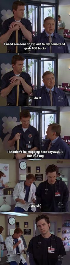 """The Janitor's 39 Best Lines On """"Scrubs."""" I don't watch this show often, but I love the guy who plays the janitor and these lines are hilarious."""