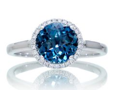 18 Karat White Gold 7.5 mm Round London Blue Topaz Diamond Halo Simple Shank Solitaire Gemstone Ring