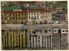view looking across water to tall buildings, which are reflected in the water, houses on a hill behind. Watercolour © The Trustees of the British Museum House For An Art Lover, Watercolor Art Landscape, Charles Rennie Mackintosh, Glasgow School Of Art, Nature Water, British Museum, Lovers Art, Art Photography, Gallery