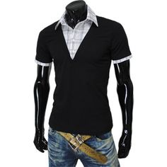 Mens Casual Layered Style Collar neck Short Sleeve Tshirts