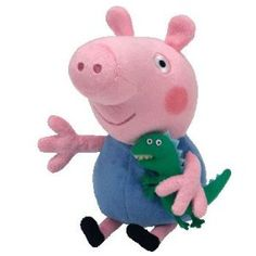 """Peppa Pig George - TY Beanie Baby: Elliot is a big fan of the TV series Peppa Pig. LIttle brother George is silent except for saying """"din - saur""""."""