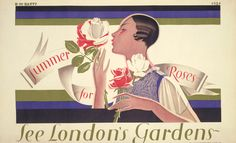 """""""Summer for roses"""" by Dora M Batty for London Transport, 1927"""
