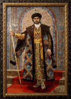 Mosaic painting Portrait of the tenor of the Mariinsky Theatre in China Michael scenic image of Boris Godunov
