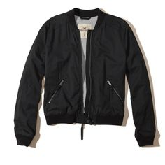 Hollister Twill Bomber Jacket ($50) ❤ liked on Polyvore featuring outerwear, jackets, black, blouson jacket, bomber jacket, light weight jacket, twill bomber jacket and hollister co jackets