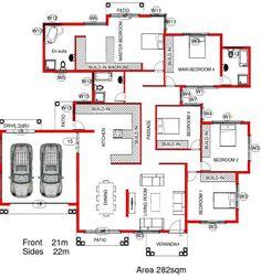 House Plans For Sale, Free House Plans, Porch House Plans, 4 Bedroom House Plans, House Layout Plans, Family House Plans, Best House Plans, Bungalow Floor Plans, Log Home Floor Plans