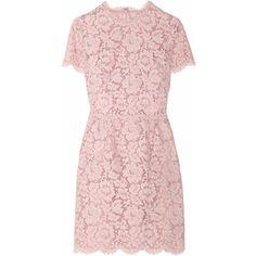 Valentino Cotton-blend lace mini dress (€2.220) ❤ liked on Polyvore featuring dresses, vestidos, valentino, short dresses, blush, mini, short pink dress, scallop trim dress, lacy dress and short mini dress