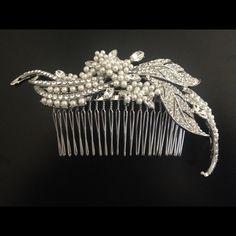 'Filomena' Diamonte Hair Slide – Roman & French Wedding accessories, bridal jewellery, wedding earrings, bridal earrings, wedding accessories, bridesmaids jewellery, bridesmaids earrings, bridesmaids gifts, pearl bridal jewellery, formal jewellery, bridal accessories.