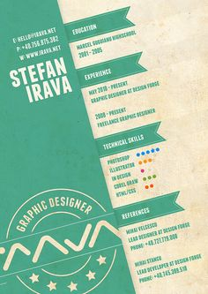 Stefan Irava's Resume. 20 Innovative Resume Examples. #resume #design #inspiration